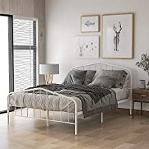 Rhomtree Platform Metal Bed Frame Full Size Bed with Headboard Footboard Mattress Foundation Bedroom Furniture for Adults Kids Teens Guests (White, Full)