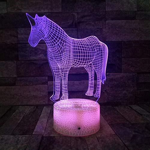 Dominante animal caballo base de grietas luz de visión 3D luz led multicolor decoración de base táctil luz nocturna lámpara de mesa pequeña