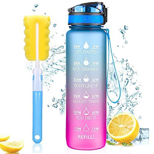 Borraccia Acqua Sportiva 1L, MEGAHUA Borracce da Escursionismo 1000ml Bottiglia Bambini Bici Plastica Contrassegno del Tempo Motivazionale, Tritan Senza BPA, Senza Perdite con Filtro, 1 Clic Aperto