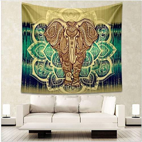 WERT Tapiz de Elefante Indio Color Impreso Decorativo Mandala Tapiz Bohemio Playa Manta Tela de Fondo A1 73x95cm
