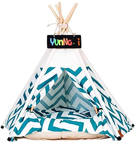 SCRT Pets Tent for Dog/Cat Dog House Cat Tent Dog Bed with Mat Removable and Washable Pet Teepee with Cushion (Color : Green stripes, Size : 60x60x70cm)