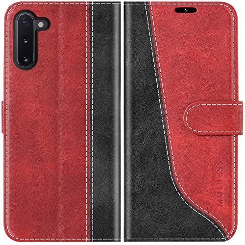 Mulbess Handyhülle für Samsung Galaxy Note 10 Hülle Leder, Samsung Galaxy Note 10 Handy Hüllen, Modisch Flip Handytasche Schutzhülle für Samsung Galaxy Note 10, Wine Rot