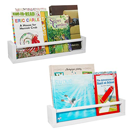 PMLYQ 2 Pack Wood Floating Nursery Shelves,Kitchen Spice Rack,Book Shelf Organizer (White)