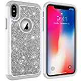 "NVWA Compatible Apple iPhone Xs Case,iPhone X Case,iPhone 10 Case,iPhone Ten Cover 5.8"" [Heavy Duty] Tough Dual Layer 2 in 1 Rubber Silicone Hybrid Hard Soft Back Protective Glitter Powder Bling Gray"