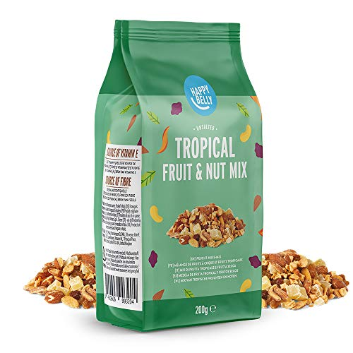 Marchio Amazon - Happy Belly - Mix di frutta tropicale e frutta secca, 4x200g