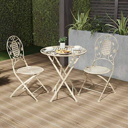 Lavish Home 80-OUTD-1 Outdoor Furniture for Garden, Patio, Porch Folding Bistro Set – 3PC Table and Chairs with Lattice & Leaf Design, White