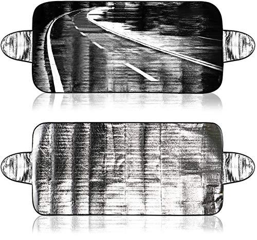 COM-FOUR® 2x hoes voor de voorruit in de winter, auto-vorsthoes voor de voorruit ook tegen UV-straling, zon, stof, ijs, vorst en sneeuw (02 stuks - 150x70 aluminium + logo)