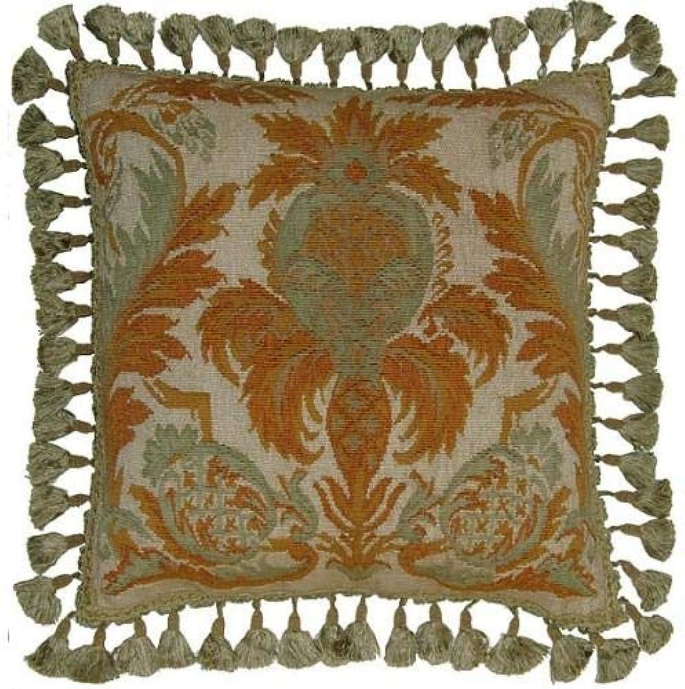 蒸分割引退したスロー枕Aubusson Flourishes Flourish 22?x 22グリーン新しい手編み