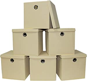 Pezin & Hulin 6 Pack Foldable Storage Cubes with Lid and Metal Eyelet Handle, Fabric Storage Bins 11 x 11 x 11 inch, Collapsible Basket Box Container, Cloth Organizer for Shelves, Closet, (Beige)