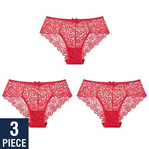 Vêtements techniques et spéciaux Sexy Lace Panties Underwear Briefs Lady 3 Pieces Transparent Women Lingerie Floral Bow Underpants G-string Thong-9004_Image_color_M_3PCS