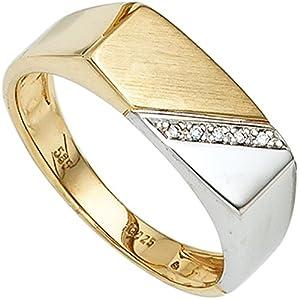 JOBO Herren-Ring aus 585 Gold Bicolor mit 5 Diamanten Größe 62