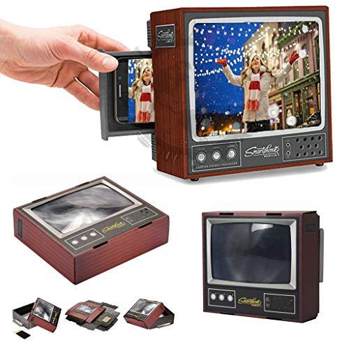 huichang DIY Bildschirmvergrößerung für das Smartphone, 3D Retro TV Telefon Bildschirm Verstärker 3D Lupe Projektor Bildschirm Augenschutz – im Retro-Stil eines altmodischen Fernsehers