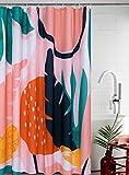 YoKII Aesthetic Plant Fabric Shower Curtain, Cute Summer Tropical Palm Tree Leaves Mid Century Art Bathroom Shower Curtain Sets Vintage Boho Botanical Bath Curtains Abstract(Blush, 72 x 72)