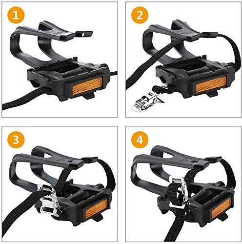 Fitness Guru Resin Alloy Bicycles/Bike Pedals with Clips and Straps, for Exercise Bike, Spin Bike and Outdoor Cycling (Black)