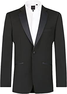 Dobell Mens Black Tuxedo Dinner Jacket Skinny Fit Notch Lapel
