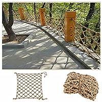 屋外天然麻ロープ、植物サポートネット、庭ジュートグリッドライン、屋内仕切りネット、橋の塀保護ネット、フォトウォールネット ,ロープの太さ4mm、メッシュ6cm-ヘンプロープ 1x1m(3.3x3.3ft)