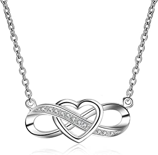 Sterling Silver Heart Infinity Necklace Pendant Quote on Card Grandma and Granddaughter Always Linked