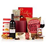 THE BOX OF INDULGENCE - Food and Wine Gift Hamper with Red Wine