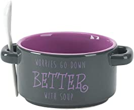 Better with Soup 14 Oz. Black and Purple Ceramic Dolomite Soup Bowl with Spoon
