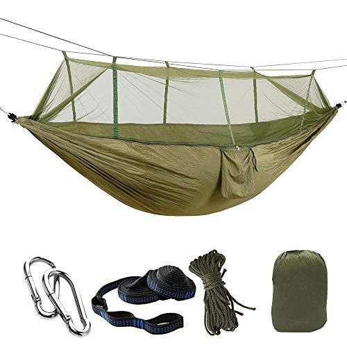 1/2 Person Camping Hammock with Mosquito/Bug Net, Single &Double Hammock Lightweight Portable Parachute Nylon Hammock for Camping,Backpacking,Survival,Travel & More (260140cm/Fruit Green/ Dark Green)