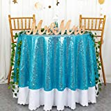 ShiDianYi 72 Inch Round Turquoise Sequin Tablecloth,Turquoise Wedding Tablecloth,Turquoise Glitter Tablecloth,Turquoise Sparkly Tablecloth (Turquoise)