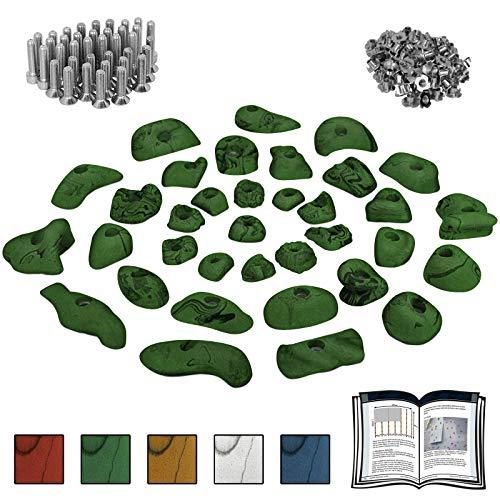 ALPIDEX Starterset: 35 Klettergriffe Klettersteine inklusive Schrauben und Einschlagmuttern - Farbe:grün-meliert