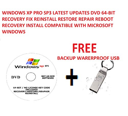 WINDOWS XP PRO SP3 LATEST UPDATES DVD 64-BIT RECOVERY FIX REINSTALL RESTORE REPAIR REBOOT RECOVERY INSTALL COMPATIBLE WITH MICROSOFT WINDOWS