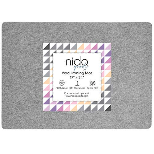 """17"""" x 24"""" Wool Ironing Mat - Authentic 100% New Zealand Wool Pressing Pad, Perfect for Quilting and More!"""