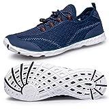 Lavibelle Homme Chaussures Aquatiques Chaussures d'eau de Plage Water Shoes pour Piscine Surfer Yoga Bleu et Blanc EU 44