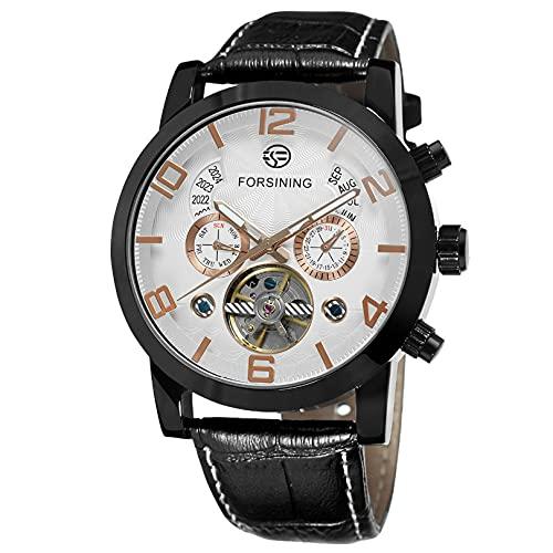 Excellent Relojes para Hombre Strap de Cuero mecánico Gypsophila Tourbillon Relojes automáticos de Pulsera para Hombres Mens Skeleton Mecánico Mecánico Reloj,A07