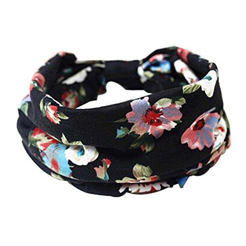 2 PCS Elastics Bandeaux Bandes Cloth Cheveux (Pattern Black Flower, 23x20 cm)