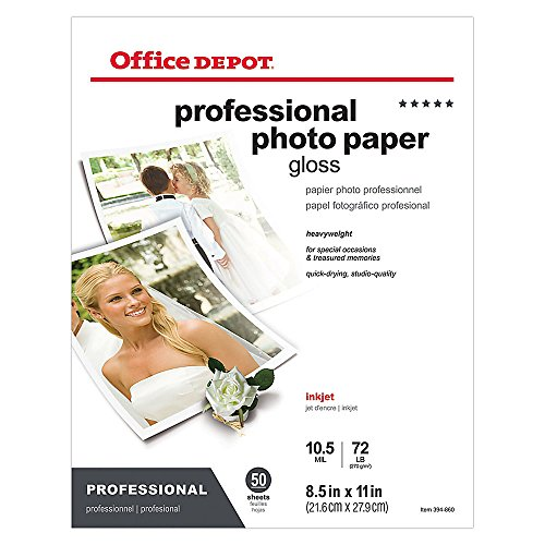 Office Depot Professional Photo Paper, Glossy, Letter Size (8 1/2' x 11'), Pack of 50 Sheets