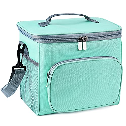 JTX Lunch Bags for Women/Men Adult Insulated Lunch Box with Adjustable Shoulder Strap,Front Zipper Pocket and Dual Large Mesh Side Pockets, for Office Work/School/ Picnic Beach (Green)