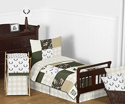 Sweet Jojo Designs Green and Beige Deer Buffalo Plaid Check Woodland Camo Boy Toddler Kid Childrens Bedding Set - 5 Pieces Comforter, Sham and Sheets - Rustic Camouflage
