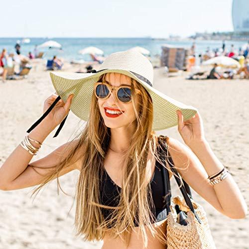 RenFox Sombrero Paja Mujer Pamela de Paja Sombreros Mujer Verano Sombrero ala Ancha Mujer Sombrero de Playa Plegable(Beige)
