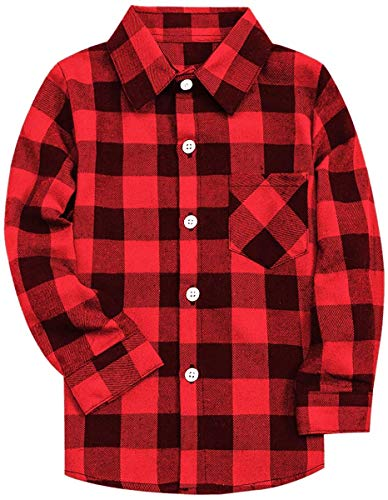 Kids Long Sleeves Button Down Flannel Cotton Plaid Shirt Tops for Big Boys, Red Black, 11-12 Years = Tag 180