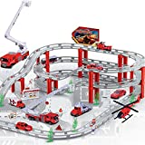 Ycco Set de Carro de Juguete Modelo Alloy City Rail Metro Tren de Carrera Modelo Carros de Pista Set Toy City Highway Longitud Puente Musical para niños Chicas Regalo Pistas de Carreras Flexibles