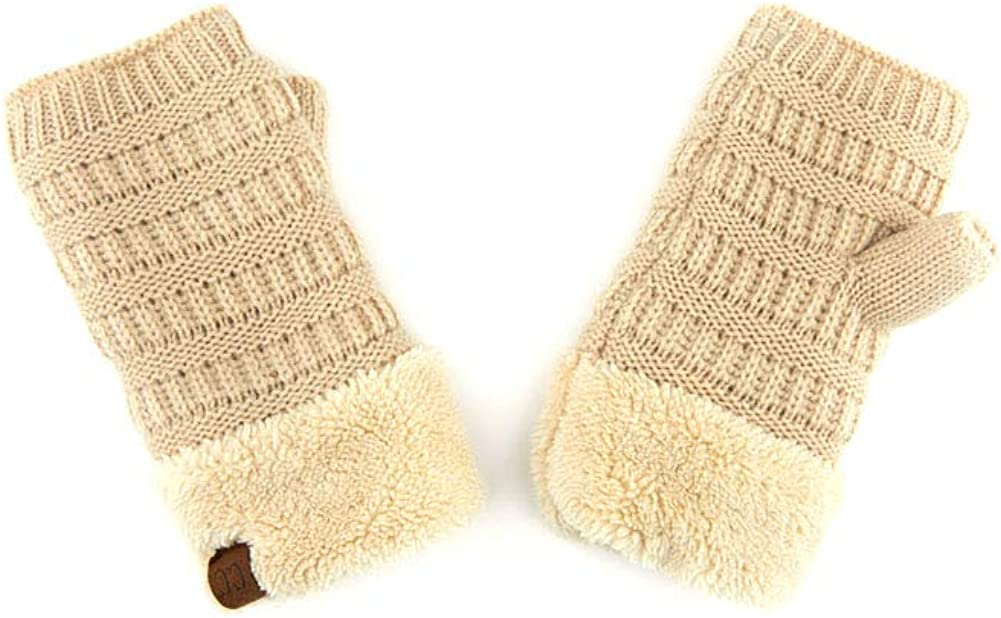 ScarvesMe Knit Fingerless Solid Color Gloves with Sherpa Lining
