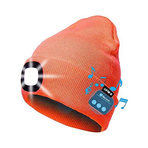 ASNX Sombrero Tejido con Luz Bluetooth Música Gorra, Inalámbrico Gorro de Invierno...