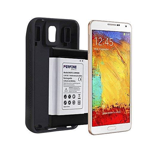 Perfine - Batteria di ricambio per Samsung Galaxy Note 3, 9600 mAh, per N900T N9000 N900V N900P N900A N9005 Note 3 B800BC, con custodia protettiva in TPU nero