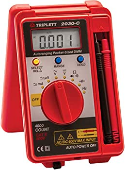 Triplett Pocket-Sized CAT II 4000 Count Digital Multimeter - AC/DC Voltage AC/DC Current Resistance Frequency Capacitance Continuity and Diode Check  2030