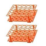 Gradilla para Tubos de Ensayo de Plástico Soporte para Tubos de Centrífuga Gradilla para Tubos De Ensayo Desmontable Puede Contener 50 Tubos de ensayo para 10 Ml / 15 Ml / 50 Ml, 2PCS (Naranja)