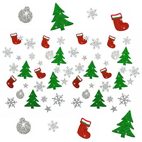 Oblique Unique® Weihnachts Sticker - Glitzer Sticker Bunt - Weinachten Tannenbaum Stiefel Schneeflocke Stern Weinachtskugeln