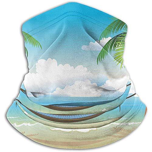 Niet bruikbare hangmat en palmen op het strand, uniseks, fleece, halswarmer, gezichtswarmer, hals, tube, nek, schrap, nek, gamassen
