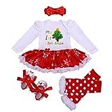 Winmany Nouveau-né bébé Filles noël Barboteuse Tutu Robe Tenue Bandeau jambière Chaussures Ensemble (Sapin de Noël, 6-12 Mois)