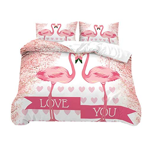 695 HNHDDZ 3D Animal Duvet Cover Flamingo Floral Pineapple Jungle Pink Green White Bedding set Summer Elegant Romantic Microfiber Quilt Cover With Zip (Style 1, King 220x240 cm)