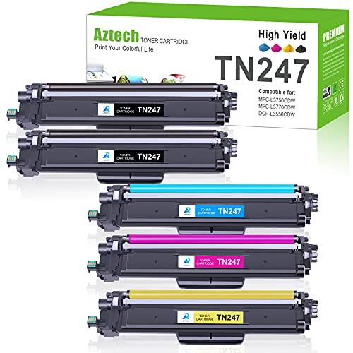 Aztech Kompatibel Tonerkartusche als Ersatz für Brother TN-243CMYK TN247 MFC-L3750CDW MFC-L3770CDW HL-L3210CW HL-L3230CDW MFC-L3710CW DCP-L3550CDW DCP-L3510CDW(Schwarz,Cyan,Gelb,Magenta, 5er-Pack)