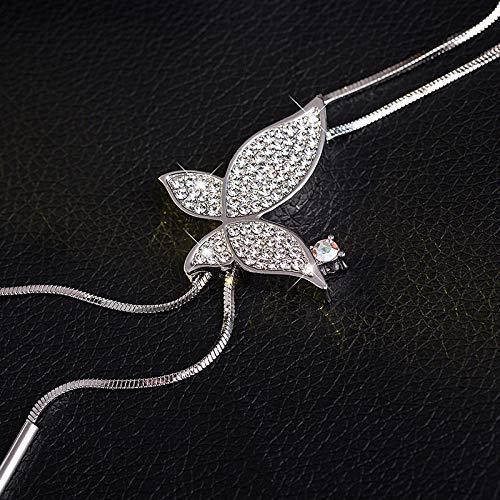 WWF Pers5Onlichkeit Schmetterling Pullover Kette Weibliche Mode Lange Halskette Quaste Anhänger Vielseitige Kleidung Zubehör Anhänger,Weißes Gold,93cm