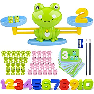 Icnow 85 Pack Balance Math Game Early Education Toy Frog Balance Scale Mathematical Digital Addition Teaching Tool for Kids Family Table Gama to Learn Counting Numbers and Basic Math by Icnow