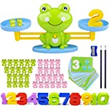 Icnow 85 Pack Balance Math Game Early Education Toy Frog Balance Scale Mathematical Digital Addition Teaching Tool for Kids Family Table Gama to Learn Counting Numbers and Basic Math